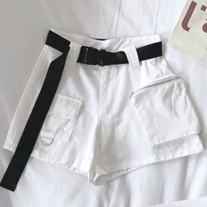Pants - White Cargo Buckle Shorts
